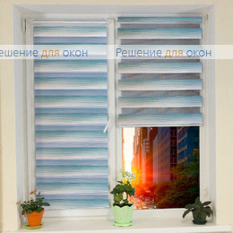 Компакт Зебра на створку окна, Компакт Зебра КАСКАД 7, морская волна от производителя жалюзи и рулонных штор РДО